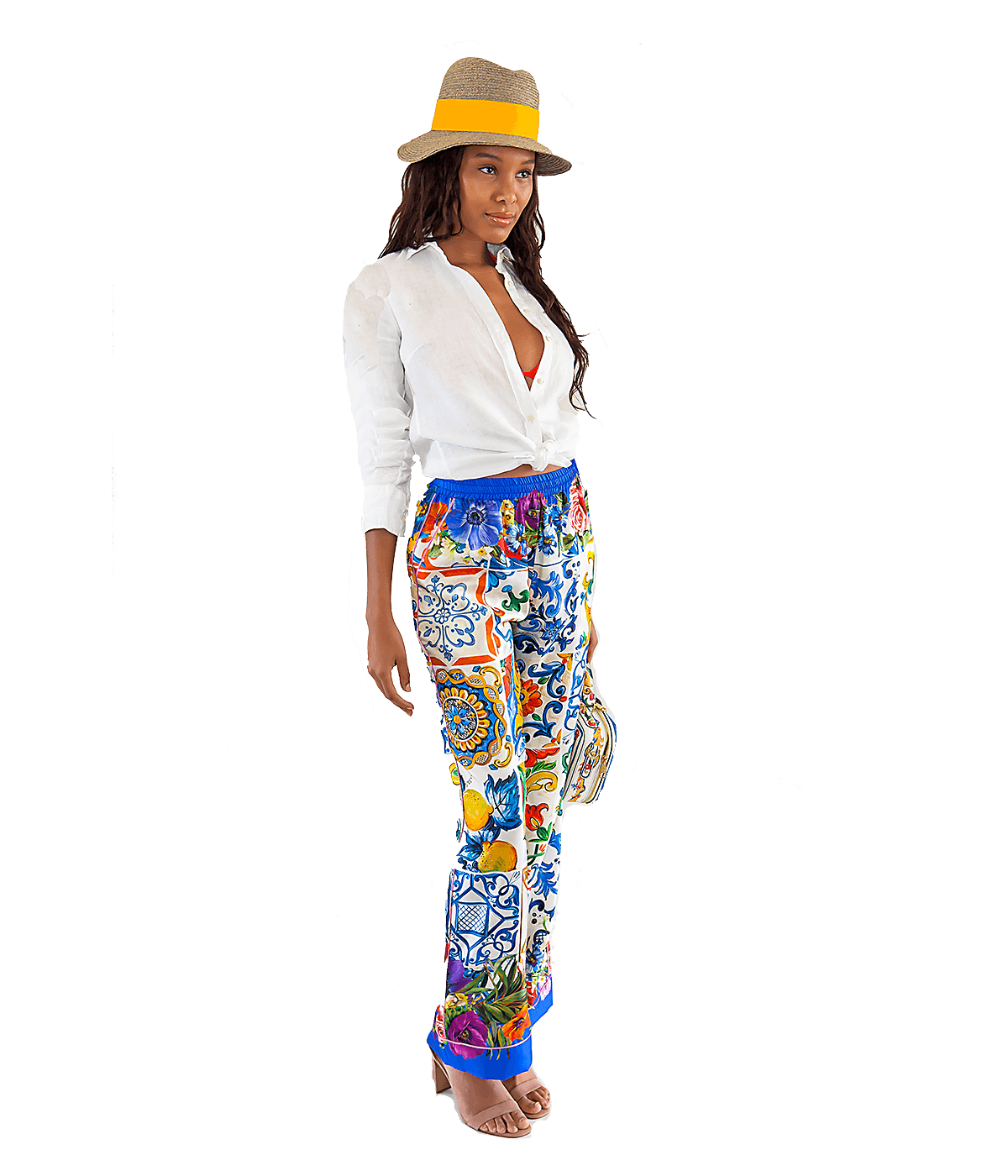 Majolica and Floral-Print Silk-Twill Pant