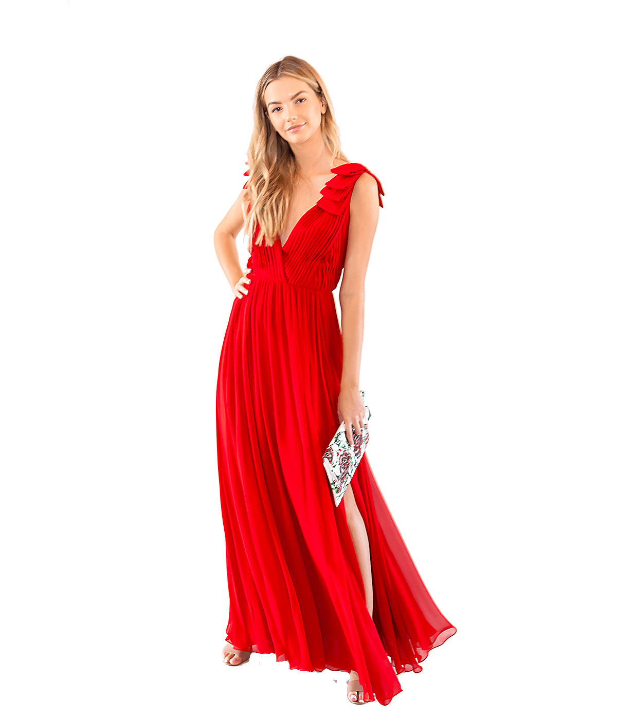 Pleated Silk Crepe Gown