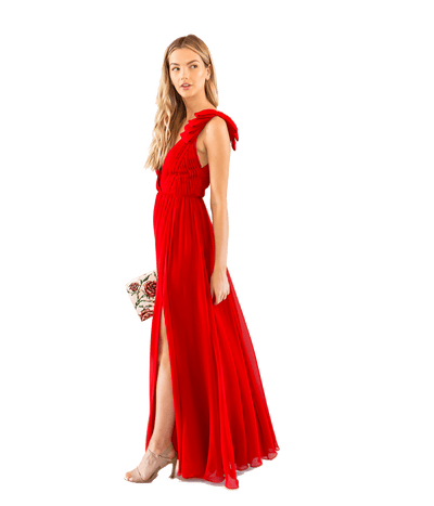 Pleated Silk Crepe Gown - Lady Jetset