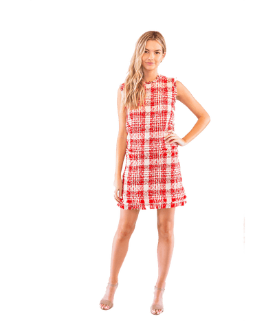 FINAL SALE Check Tweed Mini Dress - Lady Jetset