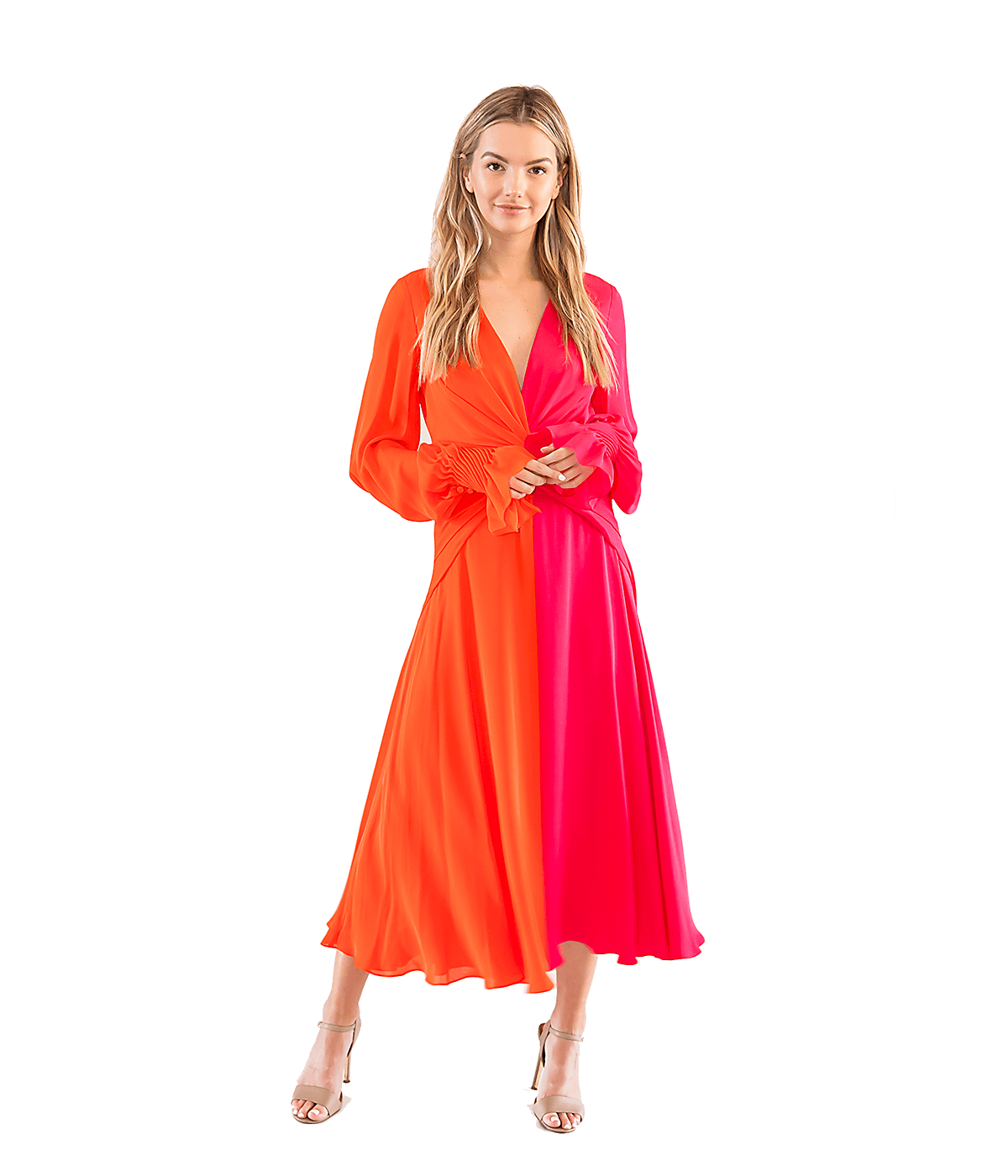 FINAL SALE Two-Tone Knotted Silk Dress - Lady Jetset