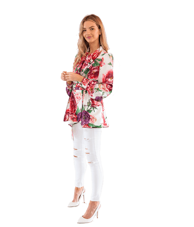 FINAL SALE Peony-Print Silk-Twill Belted Pyjama Jacket - Lady Jetset