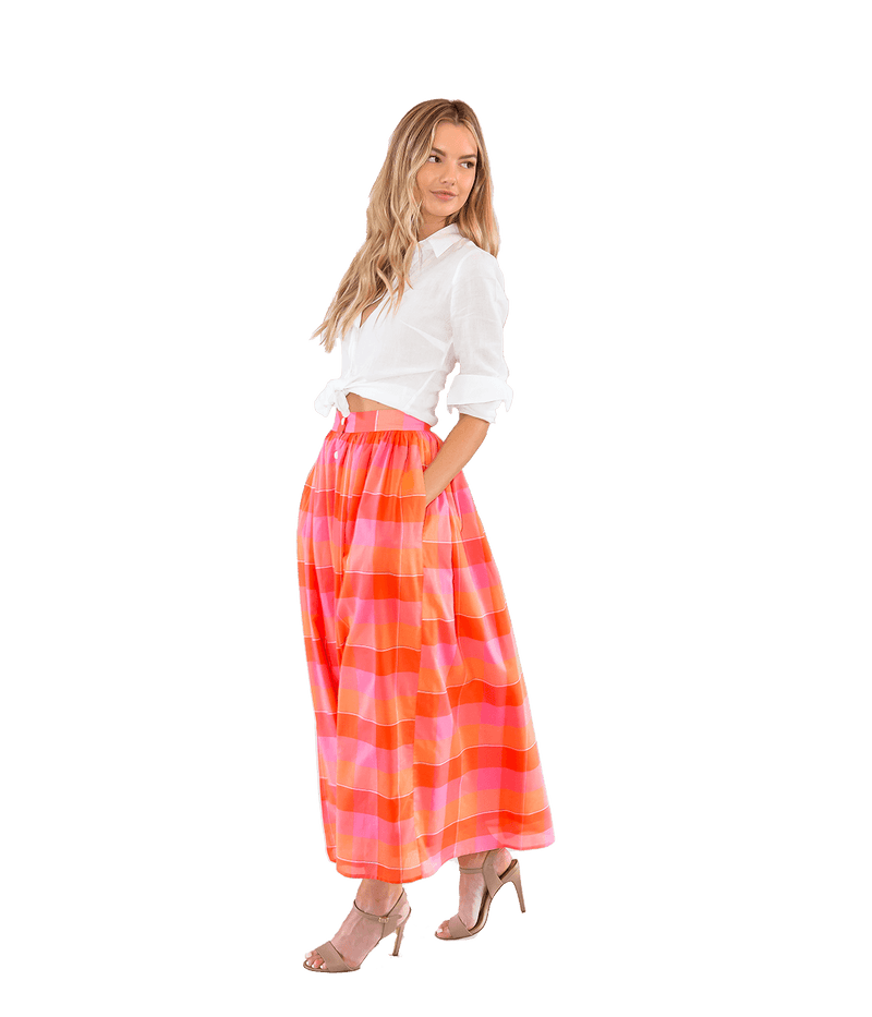Button Front Plaid Skirt - Lady Jetset