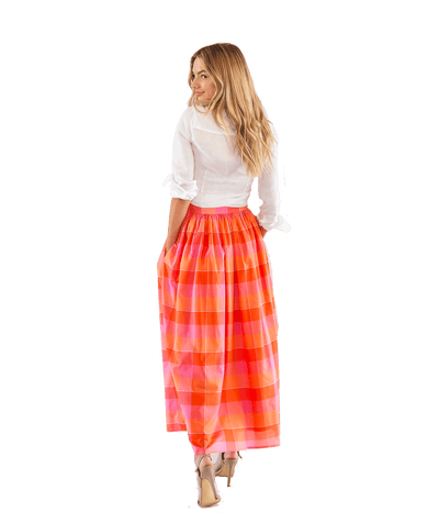 Button Front Plaid Skirt