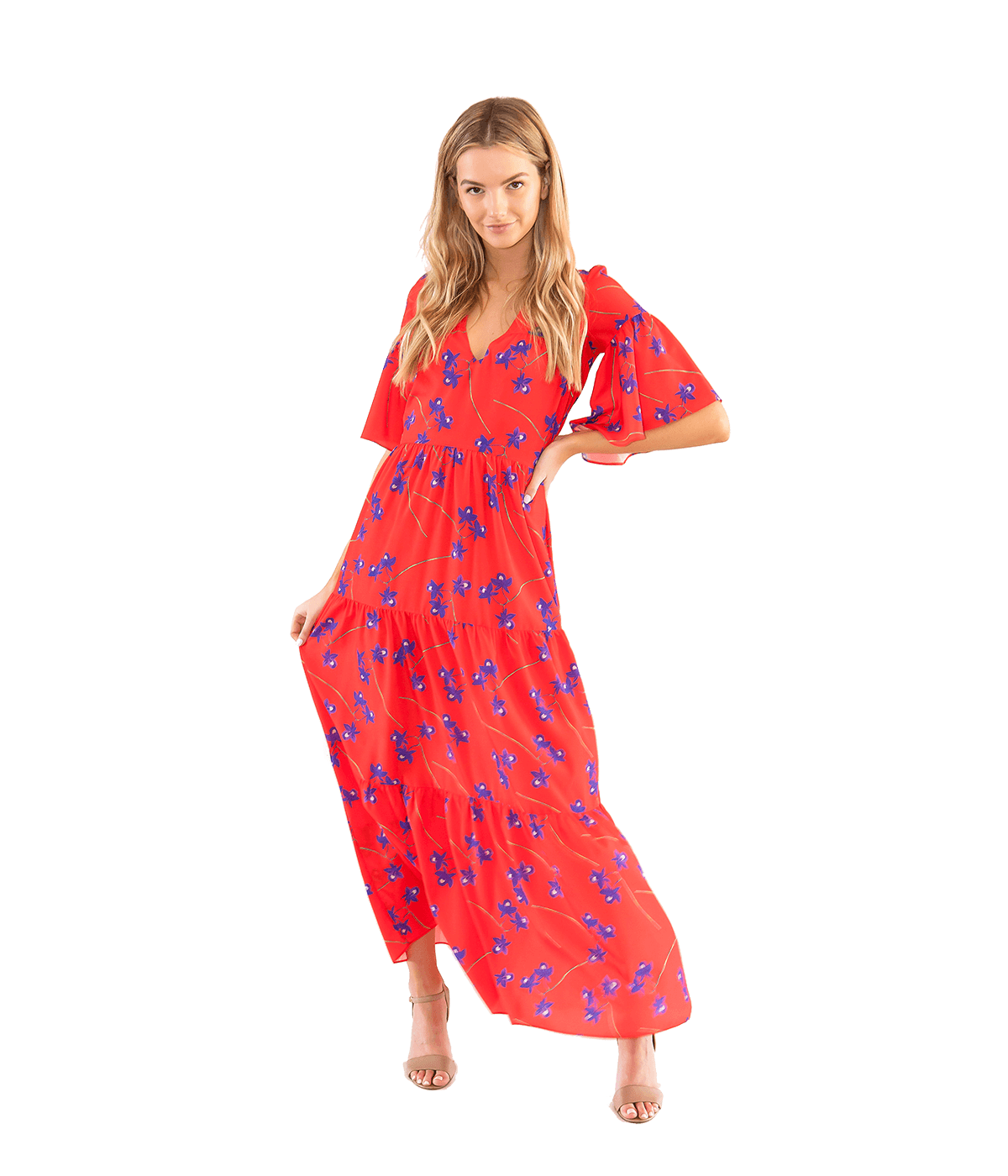 FINAL SALE Red Midi Printed Dress - Lady Jetset