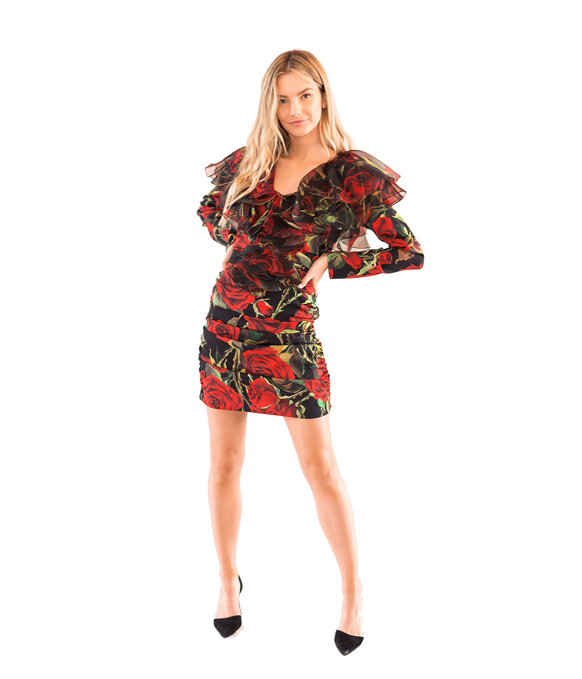 FINAL SALE Rose Print Silk Ruched Mini Dress - Lady Jetset