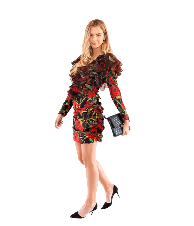 Rose Print Silk Ruched Mini Dress