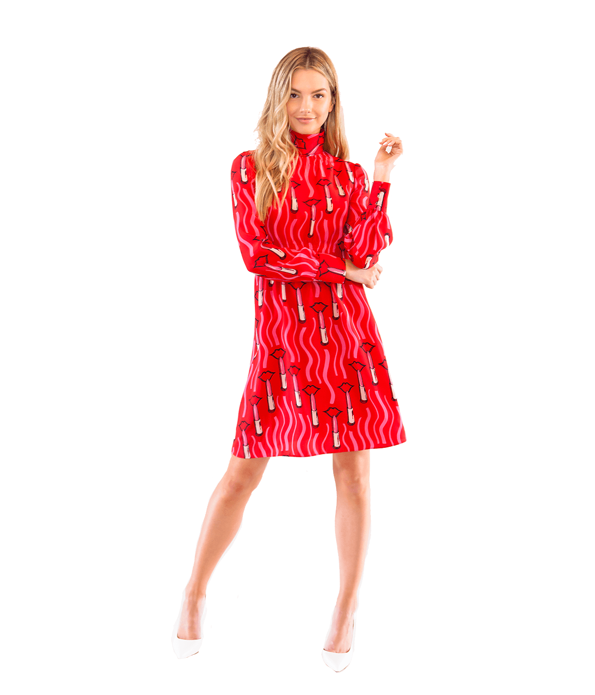 Lipstick Print Silk Crepe Dress - Lady Jetset