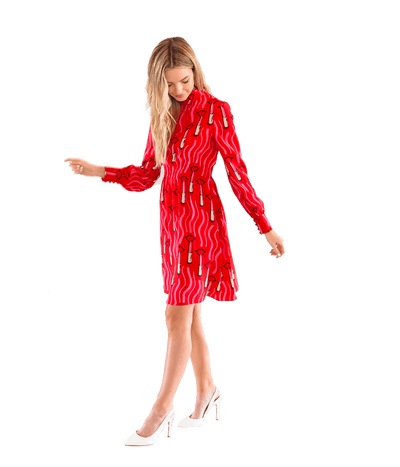 FINAL SALE Lipstick Print Silk Crepe Dress - Lady Jetset