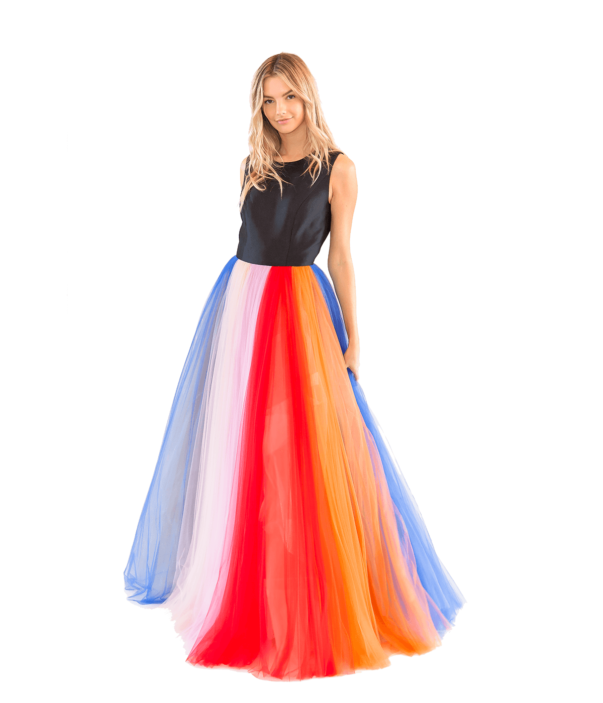 Silk Faille and Tulle Striped Gown