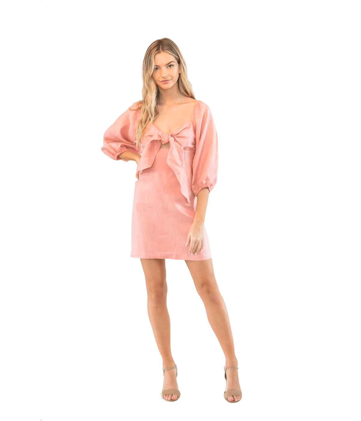 FINAL SALE Pink Tie Front Mini Dress - Lady Jetset
