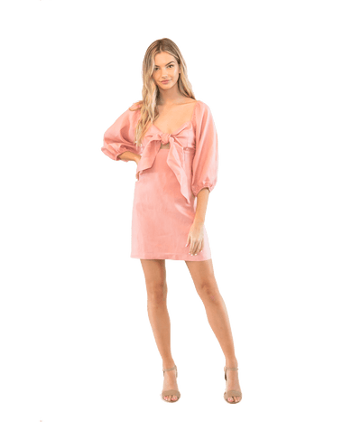 Pink Tie Front Mini Dress - Lady Jetset