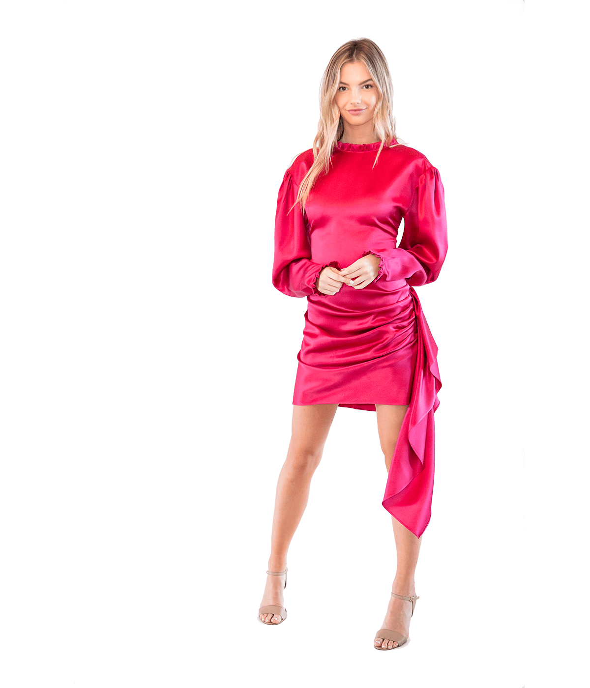 Red Silk Drape Dress - Lady Jetset