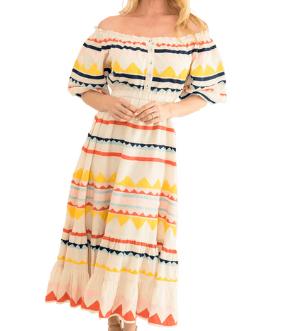 Alexa Dress - Multi/Cream - Lady Jetset