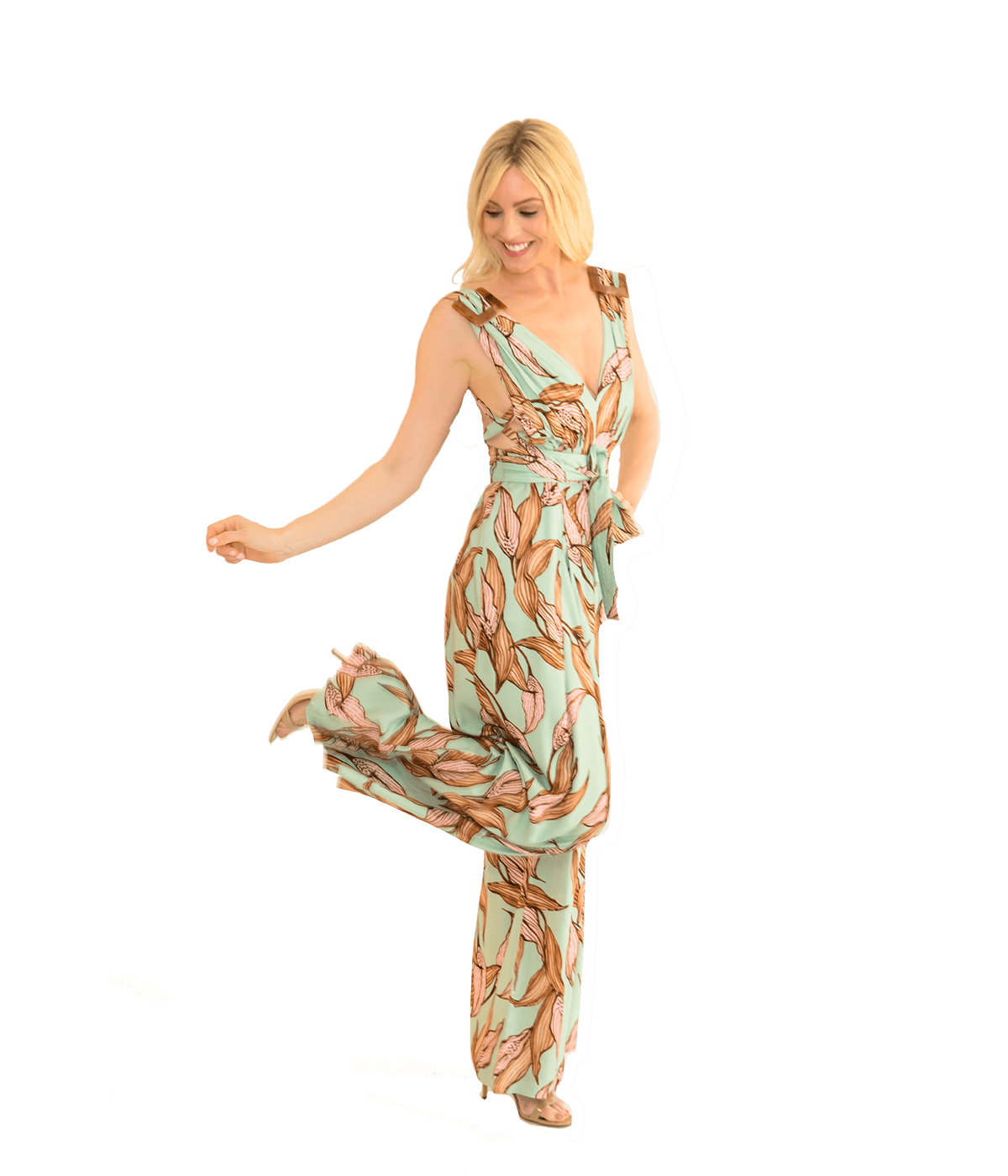 Printed Buckled Plunge Jumpsuit - Peacelilly Plunge - Lady Jetset