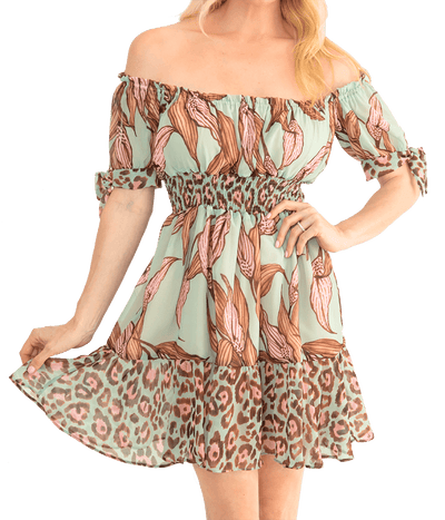 Mixed Print Off the Shoulder Mini Dress - Lady Jetset