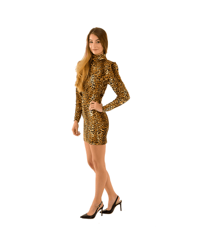 Adina Jersey Leopard Mini Dress - Lady Jetset