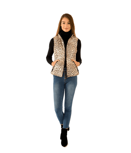 Lacey Leopard Thinsulate Quilted Vest - Lady Jetset