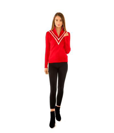 VEE 4 Ply Cashmere Zip Neck Sweater - Lady Jetset