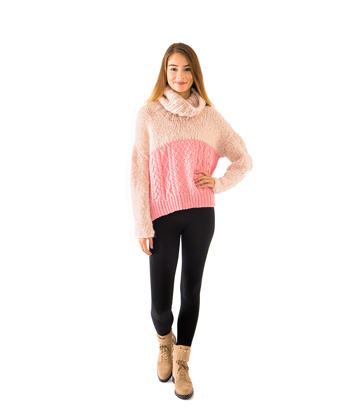 Rose Champagne Aran Turtleneck - Lady Jetset