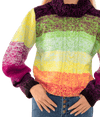 360 Rainbow Handknit Cabled Turtleneck - Lady Jetset