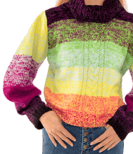 Load image into Gallery viewer, 360 Rainbow Handknit Cabled Turtleneck - Lady Jetset