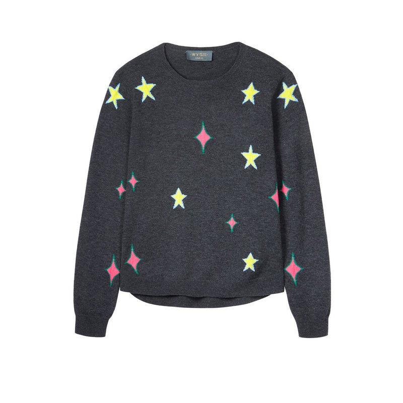 FINAL SALE Lise Star Diamond Merino Jumper - Lady Jetset