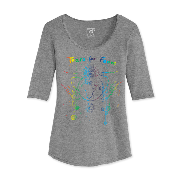 PLANETS RAINBOW FOIL GREY 3/4 SLEEVE T-SHRIT