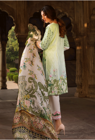 Sunshine Bloom Cotton Silk Collection by ALZOHAIB - 3 Piece Embroidered Unstitched Suit SB 10