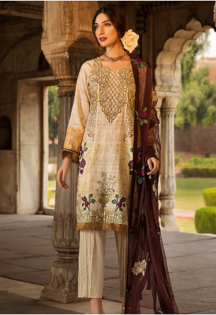 Sunshine Bloom Cotton Silk Collection by ALZOHAIB - 3 Piece Embroidered Unstitched Suit SB 11