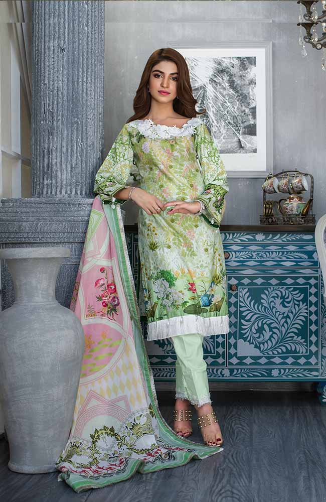 Sunshine Bloom Cotton Silk Collection by ALZOHAIB - 3 Piece Printed Unstitched Suit SB 12