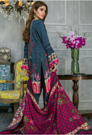 Sunshine Bloom Cotton Silk Collection by ALZOHAIB - 3 Piece Printed Unstitched Suit SB 13