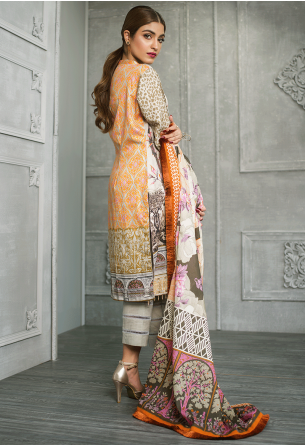 Sunshine Bloom Cotton Silk Collection by ALZOHAIB - 3 Piece Printed Unstitched Suit SB 14A