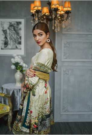 Sunshine Bloom Cotton Silk Collection by ALZOHAIB - 3 Piece Printed Unstitched Suit SB 15