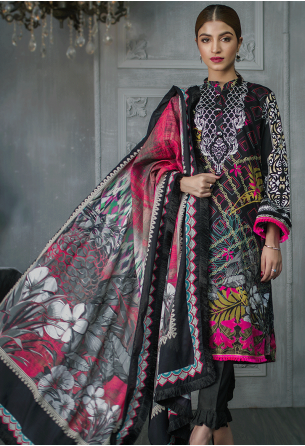 Sunshine Bloom Cotton Silk Collection by ALZOHAIB - 3 Piece Printed Unstitched Suit SB 17A