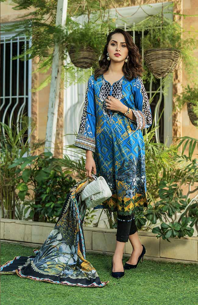 Sunshine Bloom Cotton Silk Collection by ALZOHAIB - 3 Piece Printed Unstitched Suit SB 17B