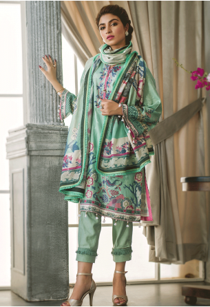 Sunshine Bloom Cotton Silk Collection by ALZOHAIB - 3 Piece Printed Unstitched Suit SB 18