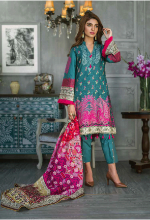 Sunshine Bloom Cotton Silk Collection by ALZOHAIB - 3 Piece Printed Unstitched Suit SB 19