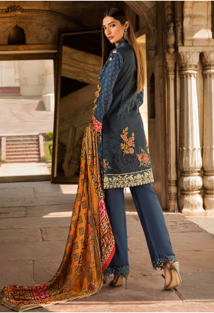 Sunshine Bloom Cotton Silk Collection by ALZOHAIB - 3 Piece Embroidered Unstitched Suit SB 01