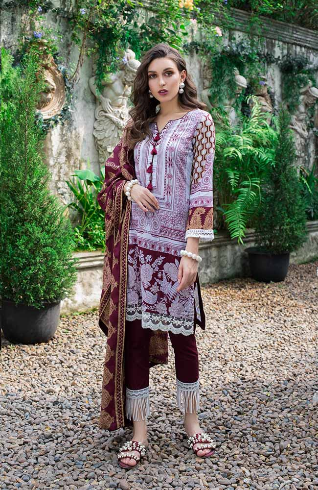 Monsoon Lawn Collection 2019 by ALZOHAIB - 3 Piece Printed Lawn Suit - 01B