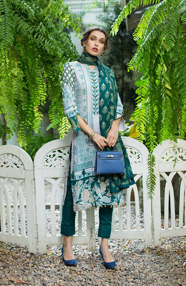 Monsoon Lawn Collection 2019 by ALZOHAIB - 3 Piece Printed Lawn Suit - 01C