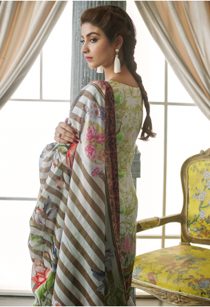 Sunshine Bloom Cotton Silk Collection by ALZOHAIB - 3 Piece Printed Unstitched Suit SB 20