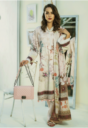 Sunshine Bloom Cotton Silk Collection by ALZOHAIB - 3 Piece Printed Unstitched Suit SB 22A