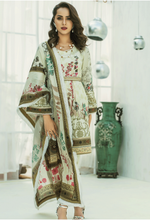 Sunshine Bloom Cotton Silk Collection by ALZOHAIB - 3 Piece Printed Unstitched Suit SB 22B
