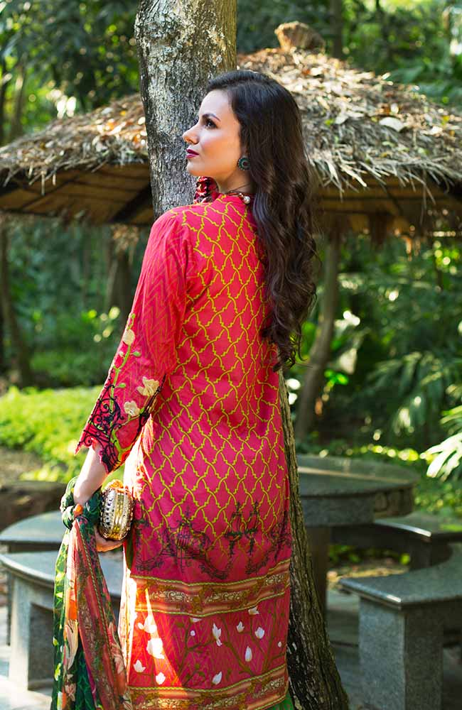 MF19L2 2A - Monsoon Festivana Embroidered Lawn Vol.2