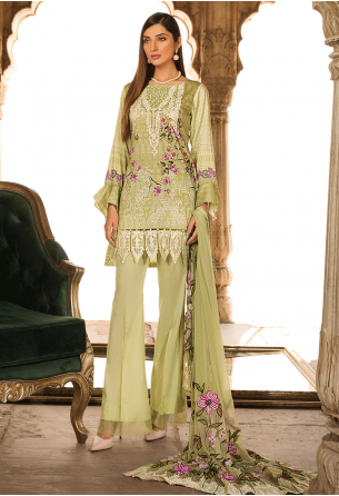 Sunshine Bloom Cotton Silk Collection by ALZOHAIB - 3 Piece Embroidered Unstitched Suit SB 02A