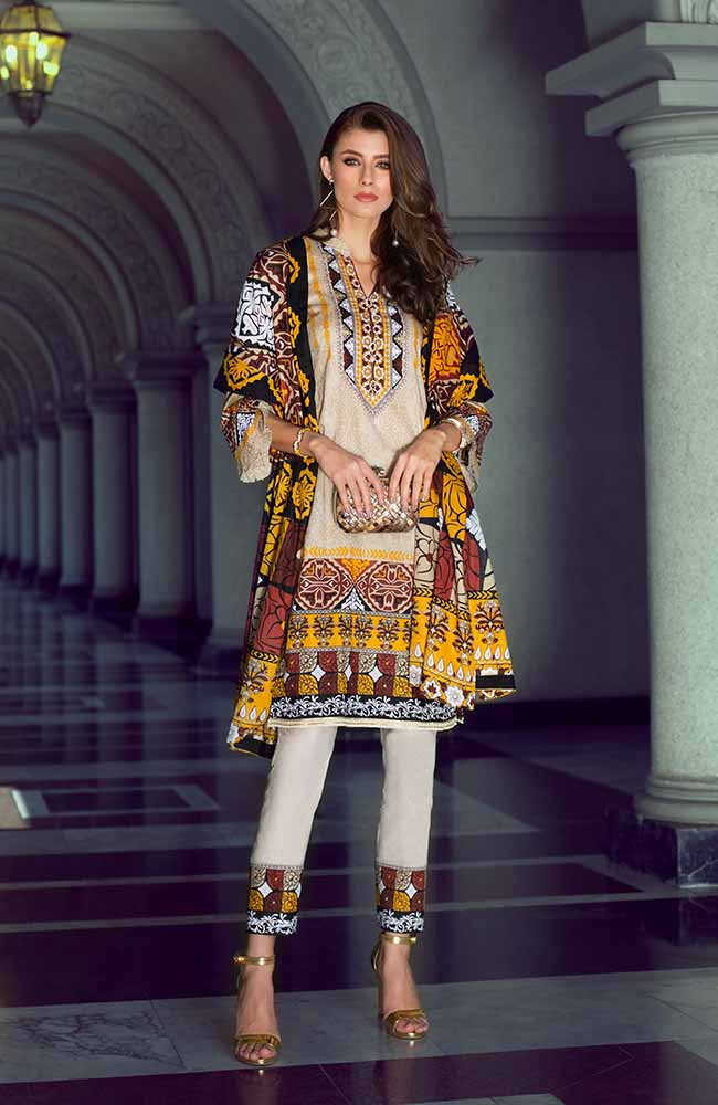 Monsoon Lawn Collection 2019 by ALZOHAIB - 3 Piece Printed Lawn Suit - 02B
