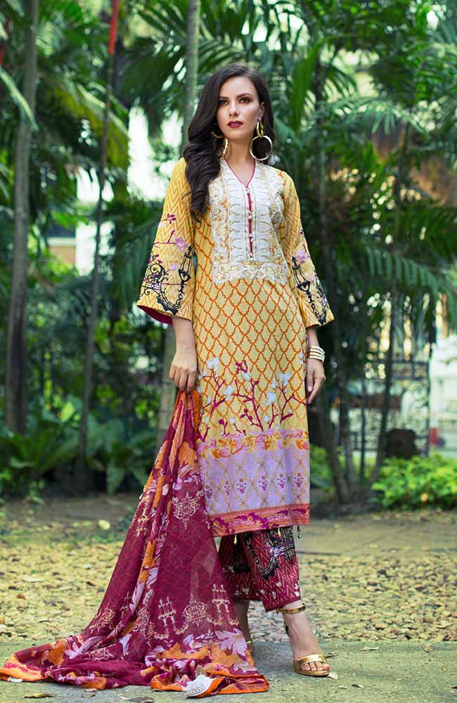 MF19L2 2B - Monsoon Festivana Embroidered Lawn Vol.2