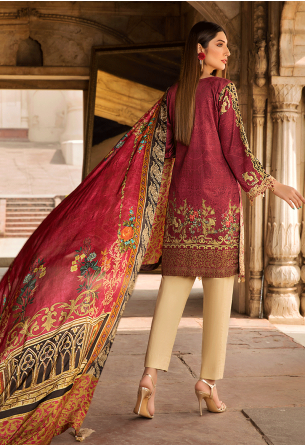 Sunshine Bloom Cotton Silk Collection by ALZOHAIB - 3 Piece Embroidered Unstitched Suit SB 03