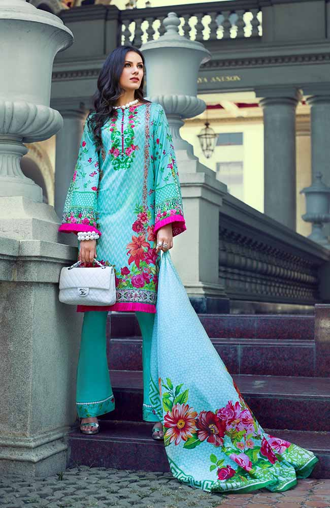 Monsoon Lawn Collection 2019 by ALZOHAIB - 3 Piece Printed Lawn Suit - 03B